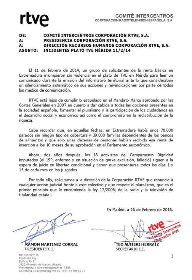 comité intercentros tve nota juicio tve merida 16 feb